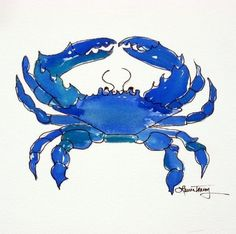 Blue Crab Print by lauratrevey on Etsy -- Chesapeake Bay Blue Crab art digital print by Laura Trevey. Watercolor Print, Watercolor Paintings, Crab Painting, Watercolors, Watercolor Sketch, Watercolor Ocean, Blue Painting, Art Paintings, Painting Art