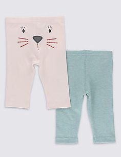 2 Pack Pure Cotton Girls Bunny Leggings