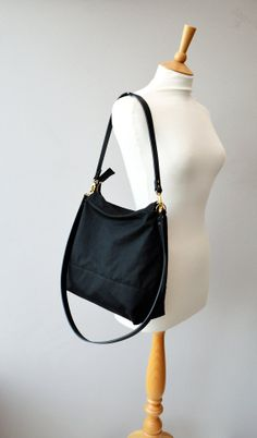 Black waxed canvas hobo bag tote bag with zipper and by ForestBags