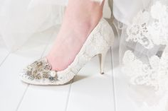 Fit for a princess. Our Twinkle Toes custom made wedding shoes combine vintage and new elements to create a glamorous effect that works