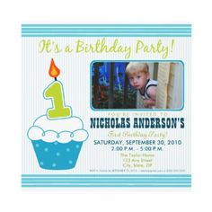 Cute 1st Birthday Cupcake Party Invitations.