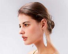 Luxusné náušnice s bielymi pierkami - strieborný anjel0 Drop Earrings, Jewelry, Fashion, Moda, Jewlery, Jewerly, Fashion Styles, Schmuck, Drop Earring