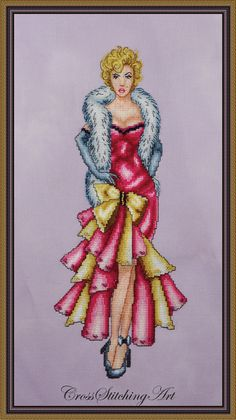 Marilyn: It's Me, Sugar! cross stitch design patterned after timeless beauty Marilyn Monroe by Cross Stitching Art available at http://crossstitchingart.com/marilyn-its-me-sugar.html