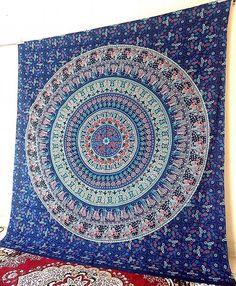 Cotton Handmade Mandala Fabric Tapestry Elephant Blue Bedspread Bohemian Hippie Wall Hanging Throw Boho Ethnic Home Decor - FabricSarmaya