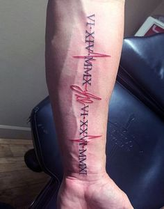 Men Forearms Red Heartbeat With Roman Number Tatoo