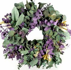 22.00 SALE PRICE! Natural Eucalyptus Preserved Sage & Lavender 17in Wreath made in California.. This is a natural eucalyptus wreath. A beautiful handmade pr...