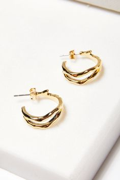 Hammered Double Hoop Earrings Diamond Studs, Gold Studs, Diamond Earrings, Hoop Earrings, Gold Chevron, Colored Diamonds, Solid Gold, Fashion Earrings, Fine Jewelry