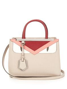 Fendi's mushroom-taupe saffiano-leather Petite 2Jours Bag Bugs tote is an elegant design loaded with contemporary appeal.