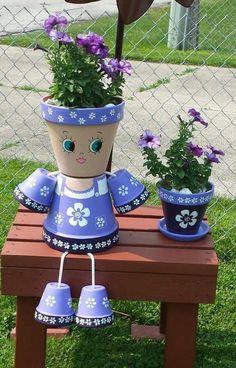 Clay Flower Pot People için resim sonucu - All About Flower Pot Art, Clay Flower Pots, Flower Pot Crafts, Clay Pot Projects, Clay Pot Crafts, Diy Clay, Flower Pot People, Clay Pot People, Painted Clay Pots