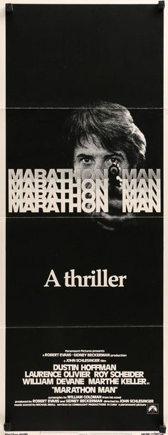 """Film: Marathon Man (1976) Year poster printed: 1976 Country: USA Size: 14""""x 36"""" This is a rare, vintage insert movie poster from 1976 for Marathon Man starring Dustin Hoffman, Laurence Olivier, Roy Sc"""