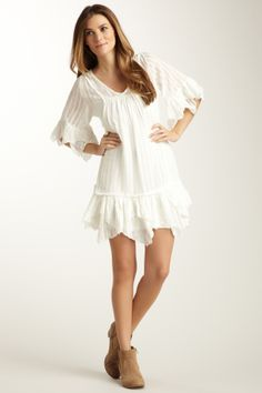 Woven V-Neck Tiered Dress