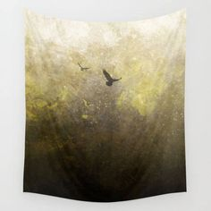 Ravens Tapestry, Birds Tapestry, Golden Tapestry, Rustic Tapestry, Space Tapestry, Hippie Tapestry  by The Mind Blossom