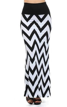 So trendy and cool for this season!!! Beautiful black and white zig zag chevron print maxi skirt is so beautiful and versatile. Black banded waist is so comfortable and slimming. This skirt is not jer