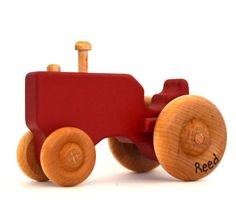 Red Wood Toy Tractor  Personalized Wooden Toy  Push by hcwoodcraft, $18.00