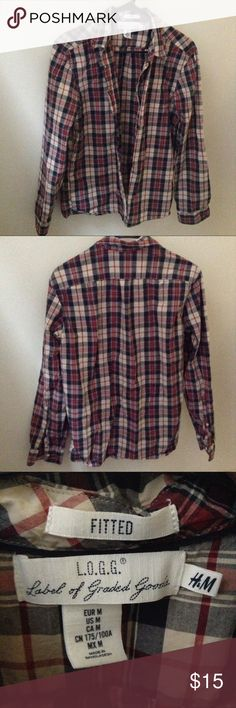 Men's Flannel Shirt Measures about 22 inches armpit to armpit and 28 inches in length. 100% cotton. H&M Shirts Casual Button Down Shirts