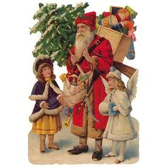 Large Victorian Santa with Gifts Scrap ~ Germany ~ New for 2014