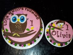 Look Whoo's Turning One Owl-Themed 1st Birthday Cake and Smash Cake