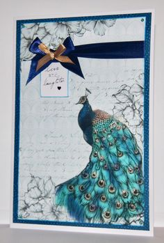 Card created using Nouveau Vogue Collection, made by Debbie Moran. www.craftworkcards.com Craftwork Cards, Bird Cards, Peacocks, Ultra Violet, Venetian, Handmade Cards, Making Ideas, Rooster, Card Ideas