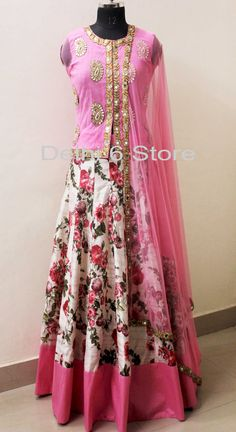 Buy D6 Studio Exclusive: Pink Floral Lehenga Choli • Delhi 6 Store