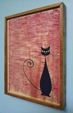Mid Century Modern Style Cat Print Red. $35.00, via Etsy.