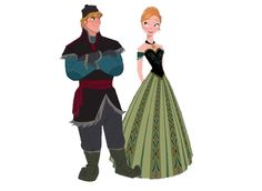 Frozen - Kristoff and Princess Anna in her coronation dress