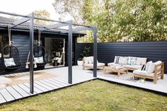 Pergola's can be a really affordable way to add an architectural feature to your alfresco area 😉 And before you ask, yes you could put a cover on it if you want, but this one we built purely for the pretty factor 🖤 Backyard Pergola, Pergola Kits, Backyard Landscaping, Corner Pergola, Pergola Plans, Pergola Carport, Steel Pergola, Pergola Aluminium, Three Birds Renovations