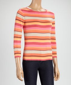 Look what I found on #zulily! Coral Stripe Three-Quarter Sleeve Top by Rafael #zulilyfinds