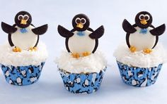 """Holiday Recipe: How to Make Cute Penguin Cupcakes  These little guys are just way too cute! Reminds me of the commercial where the penguin says, """"My foots smooshed in a cupcake."""" Love it!"""