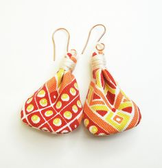 Fun colorful fabric earrings in orange yellow red and white on copper wire | Flickr - Photo Sharing!