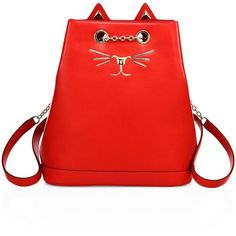 Charlotte Olympia Feline Croc-Embossed Leather Backpack (10,685 GTQ) ❤ liked on Polyvore featuring bags, backpacks, apparel & accessories, red, red backpack, draw string bag, draw string backpack, charlotte olympia and red drawstring bag