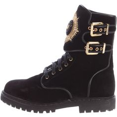 Pre-owned Balmain Velvet Eagle Ranger Ankle Boots ($595) ❤ liked on Polyvore featuring shoes, boots, ankle booties, black, black lace-up boots, black lace up ankle booties, short black boots, velvet booties and black bootie boots