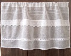 Sheer Off White Linen Panel French Decor Ivory by LinenAndLetters