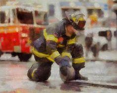 Firefighter Acrylic Painting decor fireman fire truck fdny new