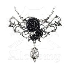 Alchemy Gothic Bacchanal Rose Necklace (£34) ❤ liked on Polyvore featuring jewelry, necklaces, goth necklace, gothic necklaces, goth jewelry, rose necklace and rose charm