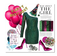 """🎈🎉🎁 I'm the Birthday girl 🎁🎉🎈"" by teryblueberry ❤ liked on Polyvore featuring Slant Collections, Essie, Deborah Lippmann, Yves Saint Laurent, Ariella, Talking Tables, Giuseppe Zanotti and Kershaw"