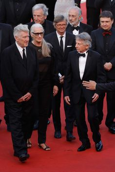 Former Palme D'Or winners David Lynch, Jane Campion,  Bille August, Roman Polanski, Costa-Gavras, Jerry Schatzberg and Cristian Mungiu attend the 70th Anniversary of the 70th annual Cannes Film Festival at Palais des Festivals on May 23, 2017 in Cannes, France.