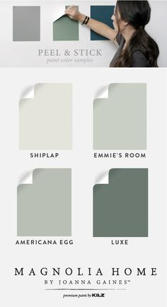 Make your next DIY home makeover project a success with these Peel & Stick Color Samples. Thanks to this easy-to-use home improvement product, you can quickly and easily test shades like Shiplap, Emmie's Room, Americana Egg, and Luxe from the Magnolia Home by Joanna Gaines™ Paint collection. What are you waiting for? Your perfect color palette is out there just waiting to be discovered.