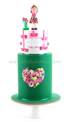 www.mutludukkan.com - Floral extended tier floral birthday cake