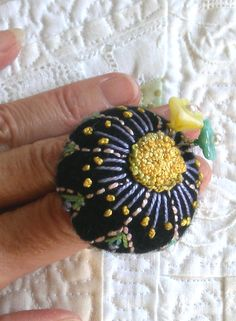 Daisy topped Black Cashmere Pincushion Ring, Hand Embroidered