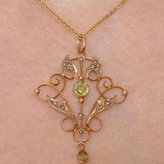 Fine Antique Victorian Art Nouveau 9ct Gold Peridot & Seed Pearl Pendant c1895