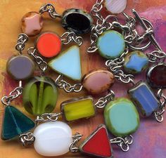 All Shapes and Color Necklace Multicolor Necklace by Annaart72, $35.00