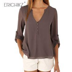 ERICHIKZ New Autumn Fashion Women deep v neck button long sleeve ladies tops chiffon shirts solid elegant Top casual blouse -  http://mixre.com/erichikz-new-autumn-fashion-women-deep-v-neck-button-long-sleeve-ladies-tops-chiffon-shirts-solid-elegant-top-casual-blouse/  #BlousesShirts