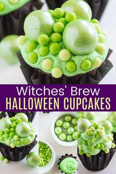 Witches' Brew Halloween Cupcakes - your favorite box cake mix or homemade chocolate cupcake recipe is piled high with fluffy green frosting and candy decorations to make them look like a cauldron filled with a bubbly potion. This trick or treat dessert is fun and easy to make, and the kids will love sinking their teeth into all the bubbling icing and sprinkles that make these as adorable as they are yummy! Get all the tips and recommendations on cupcakesandkalechips.com. Halloween Cupcakes Decoration, Halloween Cupcakes Easy, Halloween Snacks, Candy Decorations, Cupcake Recipes, Dessert Recipes, Homemade Chocolate Cupcakes, Fluffy Frosting, Halloween Chocolate