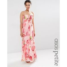 ASOS PETITE WEDDING Floral Printed Rouched Bandeau Mesh Maxi Dress (63 CAD) ❤ liked on Polyvore featuring dresses, multi, petite, floral dresses, floral maxi dress, maxi dresses, bandeau maxi dress and mesh maxi dress