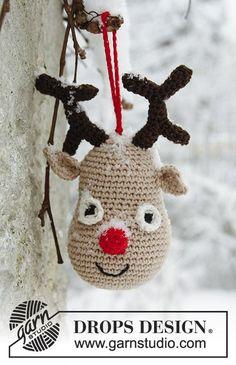 Rudolf / DROPS Extra 0-858 - Gehäkeltes DROPS Weihnachts-Rentier in Safran.