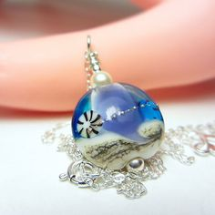 Artisan Lampwork Necklace Blue and Purple Necklace Seashell Necklace Ocean Necklace Beach Jewelry Ocean Wave Necklace Nautical Gift for Her by NataliaKh on Etsy