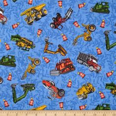 Detour Ahead Tossed Trucks Blue from @fabricdotcom  Designed by Eugene Warren Smith for Clothworks, this cotton print fabric is perfect for quilting, apparel and home decor accents. Colors include red, green, gold, orange, grey and blue.