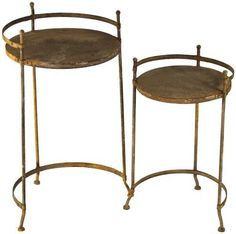 ZENTIQUE HR10339 Rustic Metal Nesting Table, Set of 2 by ZENTIQUE. $117.58. Iron. Both Indoor and outdoor use. set of 2. Rustic Metal Nesting Table, Set of 2. Save 68%!