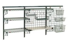 ENDLESS POSSIBILITIES are achieved with Metro's SmartWall G3 Productivity System. Create the wall-mounted task station of your dreams, utilizing wall tracks and grids, a variety of shelf selections and an array of accessories to meet your specific requirements. Wall-mounted task stations are ideal for prep areas, janitorial supply, above sink locations, work tables or equipment. Available in Metroseal epoxy finish with Microban antimicrobial product protection or Brite finishes. Larder Cupboard, Kitchen Cupboard Doors, Wall Shelving Systems, Janitorial Supplies, Wall Mount Bracket, Wall Mounted Shelves, Tool Storage, Countertops, Layout