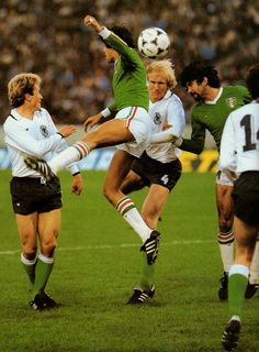 West Germany 6 Mexico 0 in 1978 in Cordoba. Rolf Russmann heads just wide as Germany turn the screw in Group 2 at the World Cup Finals.
